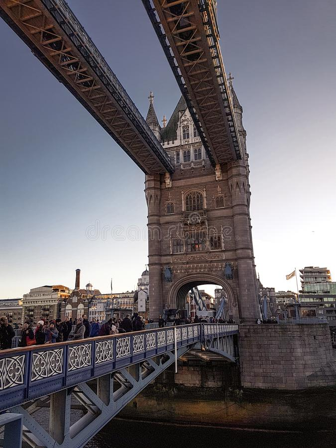 December 28th, 2017, London, England - Tower Bridge, which crosses the River Thames close to the Tower of London royalty free stock photo