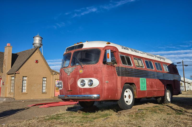 Historic tour bus of Bob Wills Texas country singer. December 24, 2015 Turkey, Texas: the tour bus of Bob Wills and the Texas Playboys displayed on roadside. Bob royalty free stock photos