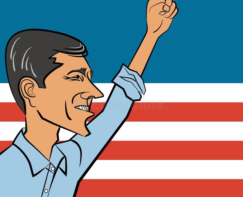 Vector cartoon of Beto O`Rourke, past candidate for Texas senator and possible 2020 candidate for president of the United States. December 13, 2018. Vector royalty free illustration