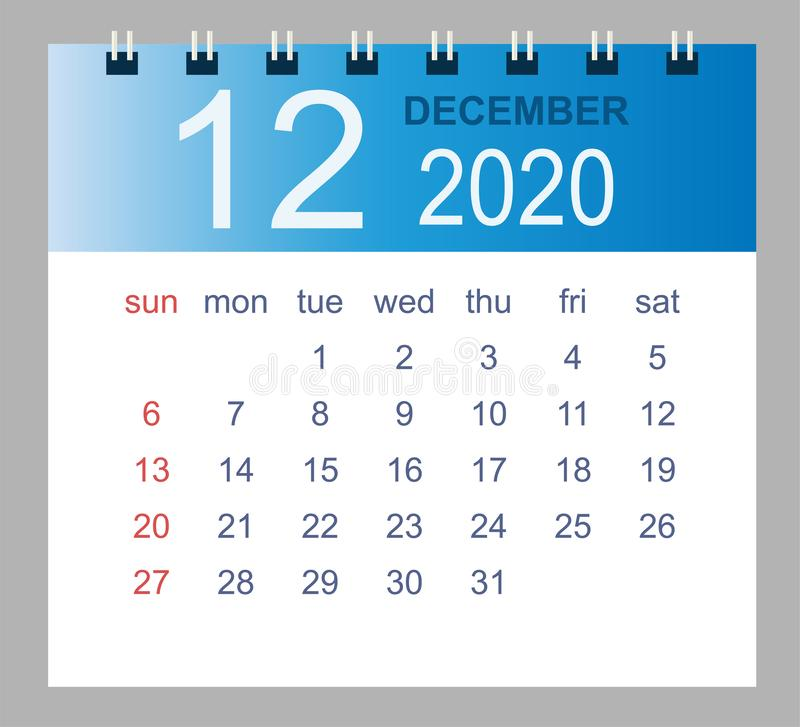 December 2020. Vector monthly calendar template 2020 year in simple style for template design stock illustration