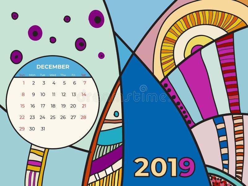 2019 December-vector van de kalender de abstracte eigentijdse kunst Bureau, het scherm, Desktopmaand 12,2019, kleurrijk de kalend royalty-vrije illustratie