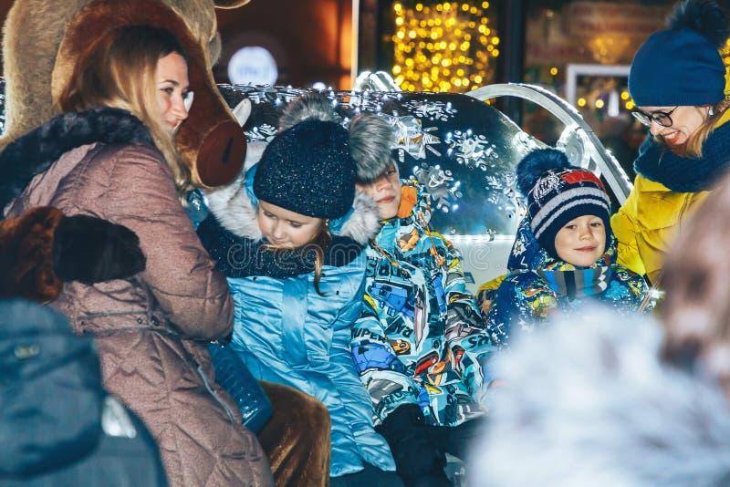 30 december, 2018 vieringen van het Witrussische Nieuwjaar van Minsk in het stadsvierkant royalty-vrije stock afbeeldingen
