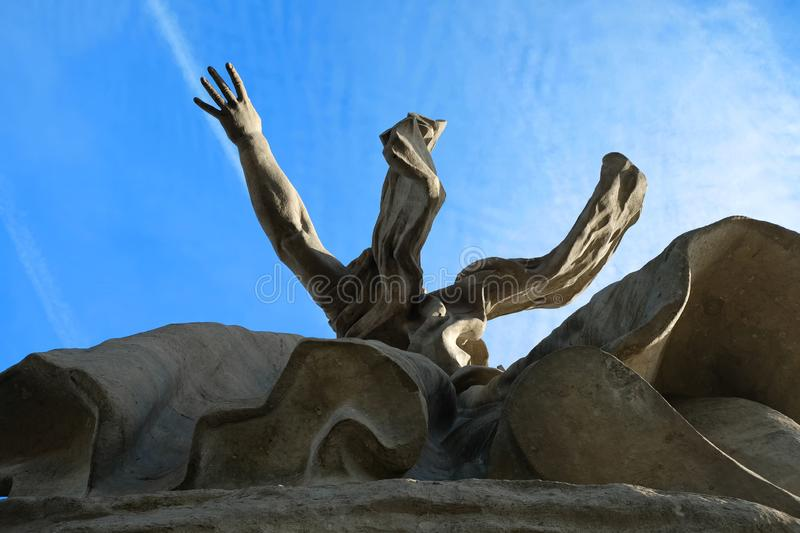 December 2015, Volgograd, Russia - Stone monument The Motherland Calls from the bottom angle view. royalty free stock image