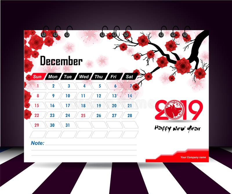 December 2019. Wall calendar planner template. Vector design print template with place for photo. Week starts on Sunday. Wall calendar 2019 planner template vector illustration