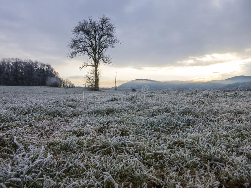 December weather before the snow in Slovenia. Clouds and dramatic weather before snow fall royalty free stock photo