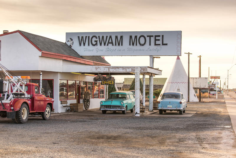 December 21, 2014 - Wigwam Hotel, Holbrook, AZ, USA: teepee hotel rooms. Wigwam Hotel, Holbrook, AZ, USA: teepee or wigwam hotel rooms along historic route 66 stock photography