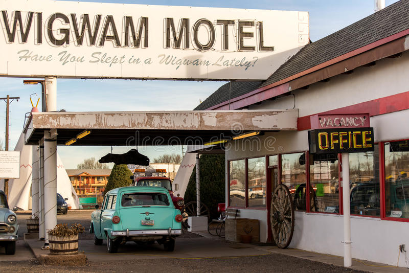 December 21, 2014 - Wigwam Hotel, Holbrook, AZ, USA: teepee hotel rooms. Wigwam Hotel, Holbrook, AZ, USA: teepee or wigwam hotel rooms along historic route 66 stock images