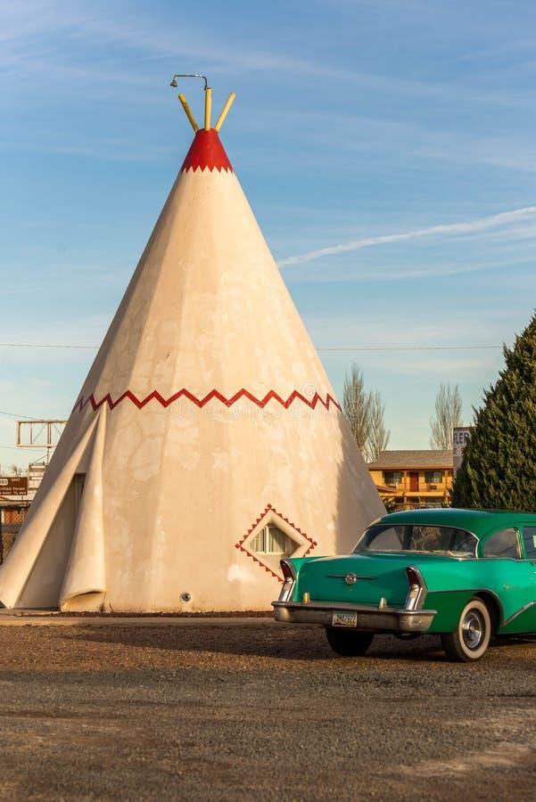 21 december, 2014 - Wigwamhotel, Holbrook, AZ, de V.S.: tipi hote royalty-vrije stock foto