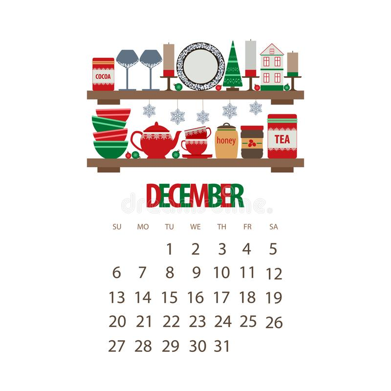 December Christmas 2020 Calendar December Winter Month 2020 Calendar, Kitchen Shelf With Utensils