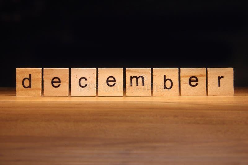 December wooden blocks stock photos