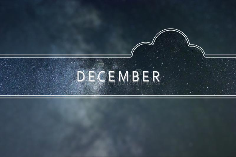DECEMBER word cloud Concept. Space background. royalty free stock images