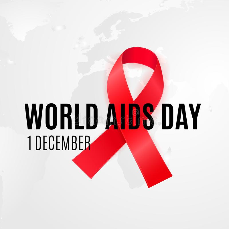 1 of December - WORLD AIDS DAY. Background with red cancer ribbon for HIV alertness campaign.  stock illustration