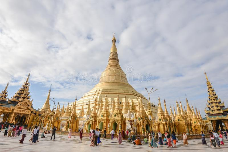 17 december 2016 yangon city myanmar shwedagon paya pagoda fomous place for buddhism people.there is place for worship and. International landmark for tourism stock photography