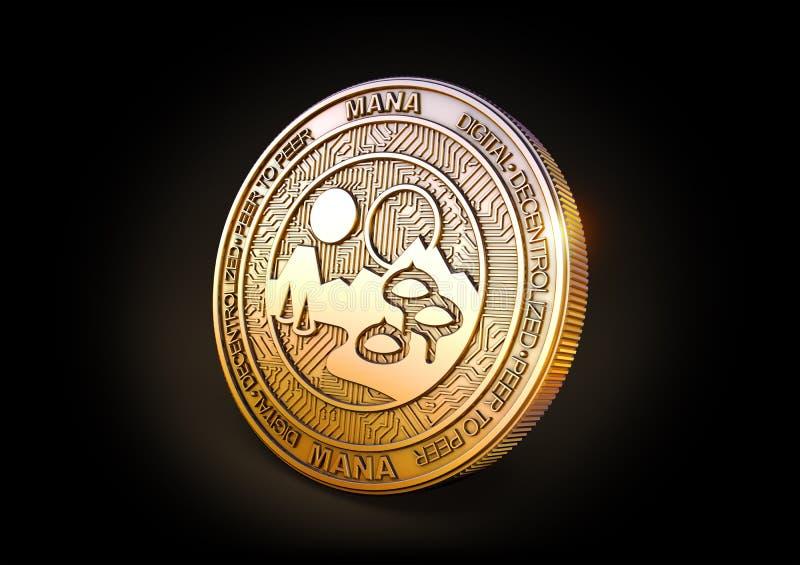 Decentraland - Cryptocurrency Coin. 3D rendering. Decentraland MANA - Cryptocurrency Coin on Black Background. 3D rendering vector illustration