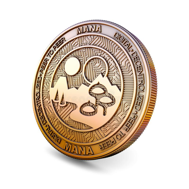 Decentraland - Cryptocurrency Coin. 3D rendering. Decentraland MANA - Cryptocurrency Coin Isolated on White Background. 3D rendering stock illustration