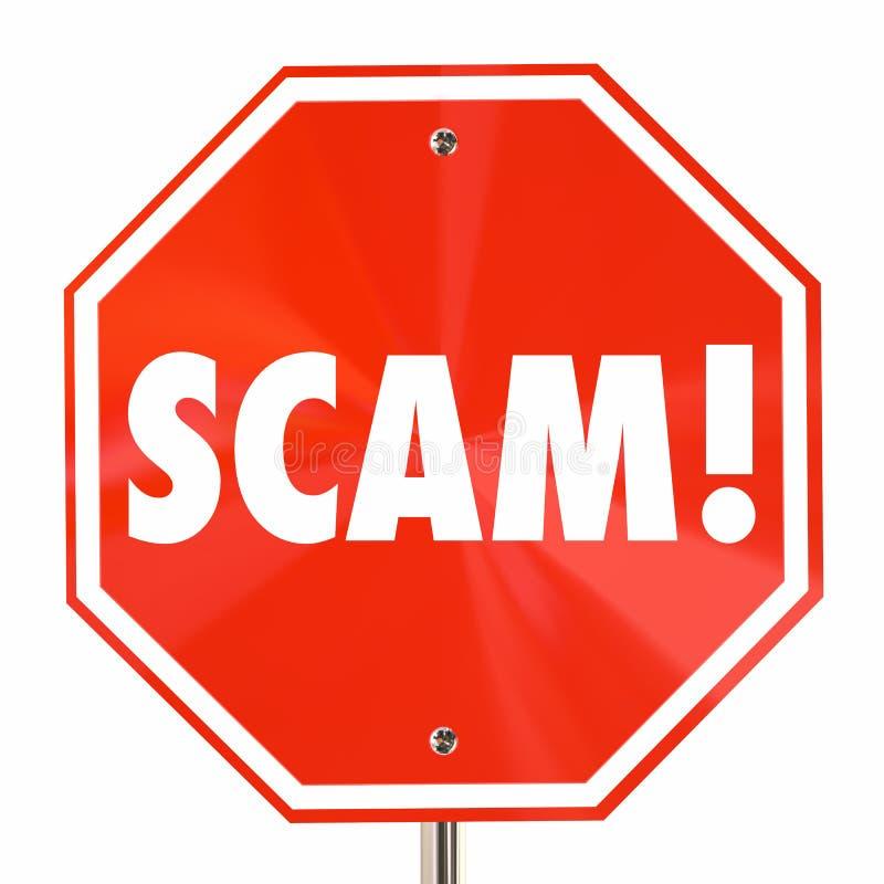 Decepção das mentiras da fraude da palavra do sinal da parada de Scam ilustração royalty free