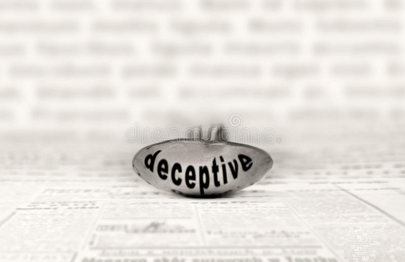 Deceptive concept. Deceptive concept, shaping public opinion by appealing to emotion and personal belief royalty free stock photos