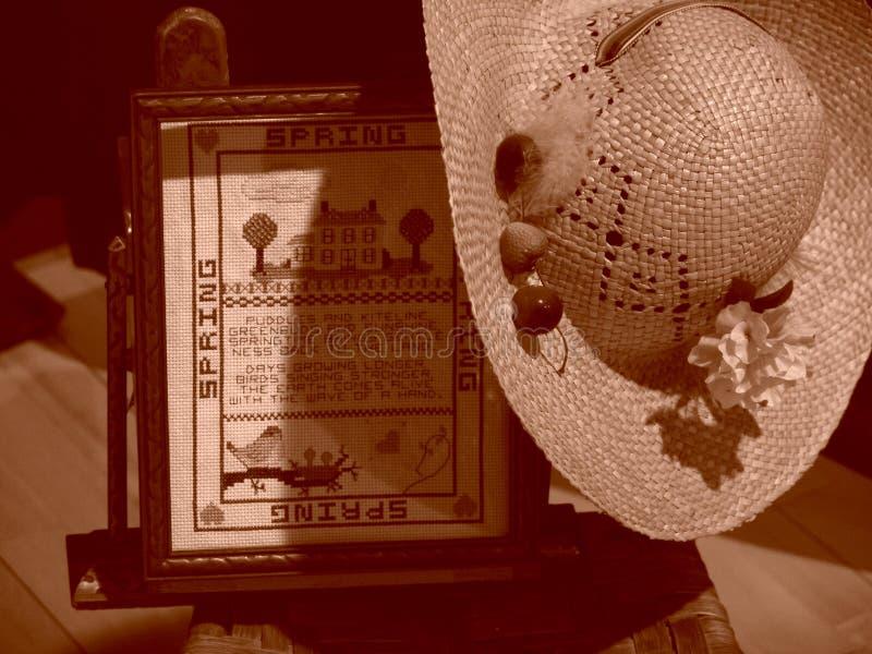 Dechado Del Resorte Con El Sombrero De Paja Foto de archivo