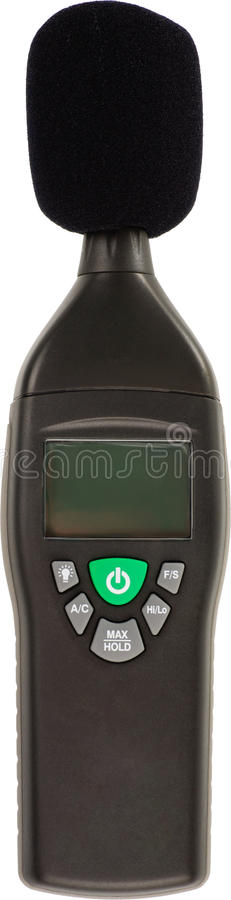 Decibel meter. Objects to protect from deafness on a white background stock photos