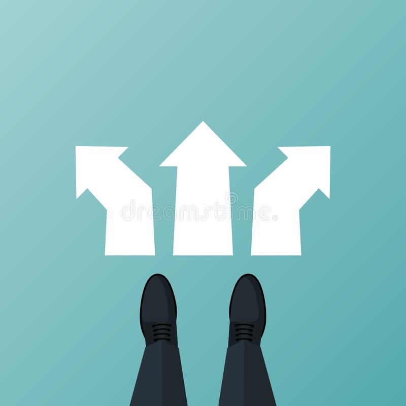 Decide direction vector. Decide direction. Human standing choice of ways. Shoes on legs of businessman standing in front of arrows. Crossroads arrows vector illustration
