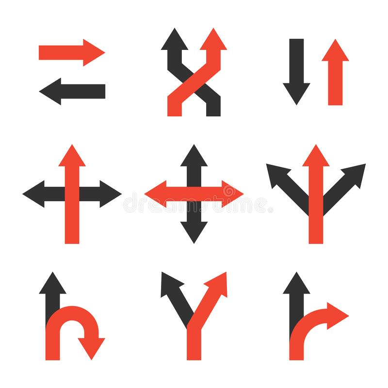Decide icons set, making a decision symbol. Decide icons set. making a decision symbol. direction arrow sign. left or right way. uncertainty choice. competitive vector illustration