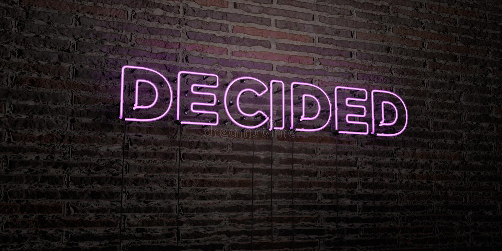 DECIDED -Realistic Neon Sign on Brick Wall background - 3D rendered royalty free stock image. Can be used for online banner ads and direct mailers royalty free illustration