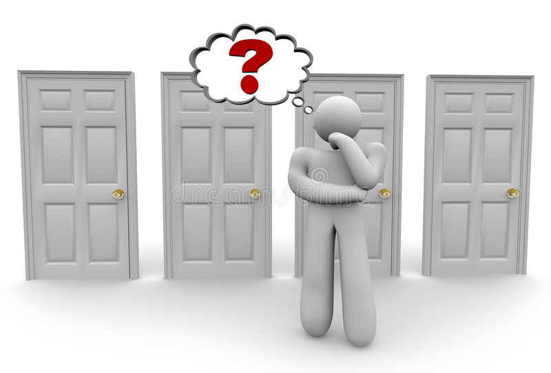 Deciding Which Door to Choose 2. A figure stands before a row of doors and ponders which one to open stock illustration