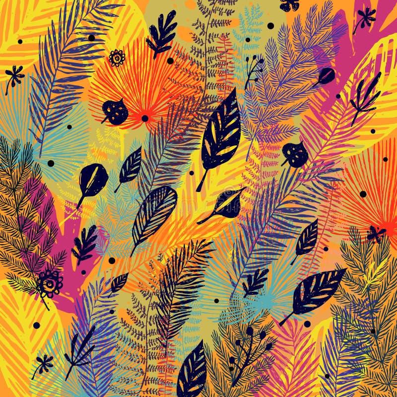Deciduous, defoliation, multicolor modny jesieni tło, liścia spadek Wektorowa botaniczna ilustracja, Wielki projekt ilustracja wektor