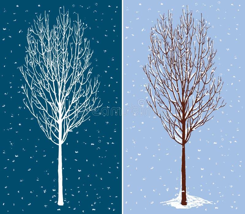 Deciduous tree in december stock illustration