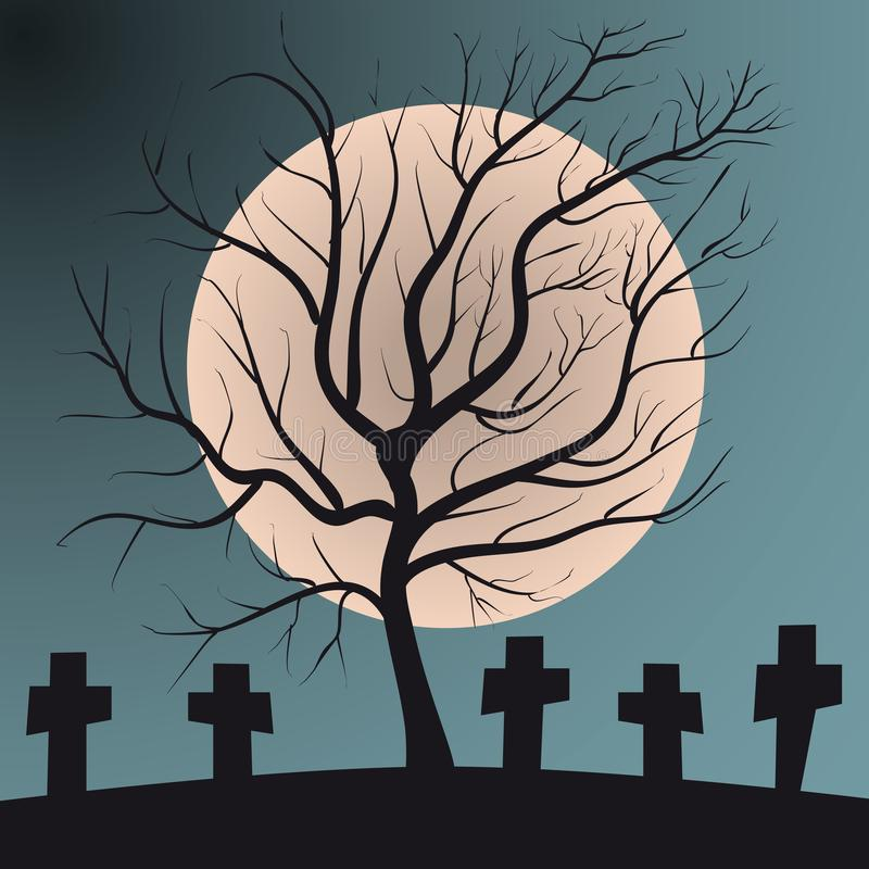 Deciduous tree on graveyard with graves full moon vector illustration