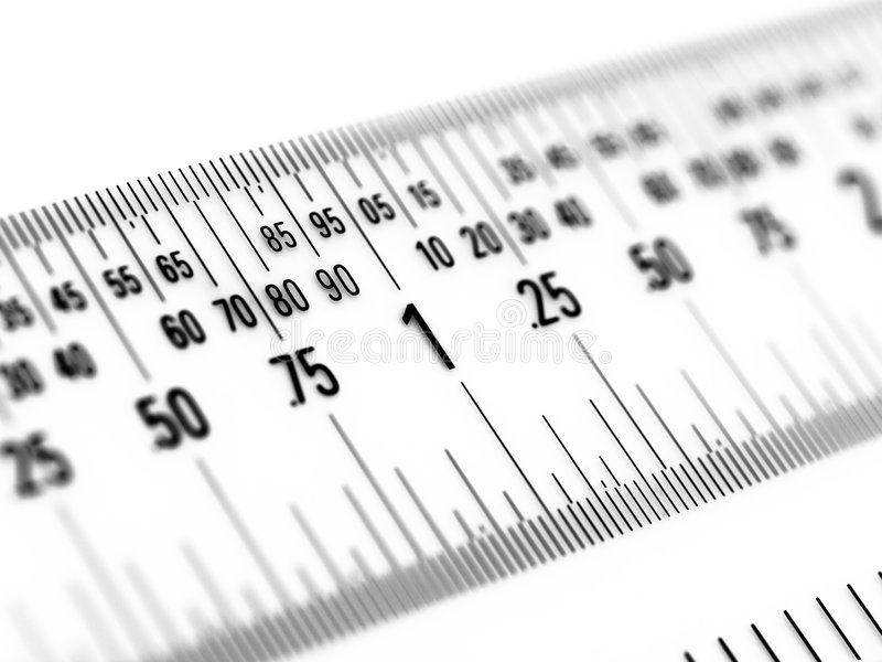 Decimal Ruler in Inches. Super-macro of ruler displaying inches as decimal fractions royalty free stock photo