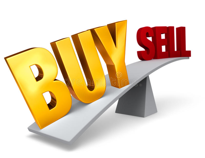 A decisão a comprar aumenta o conselho para vender ilustração stock