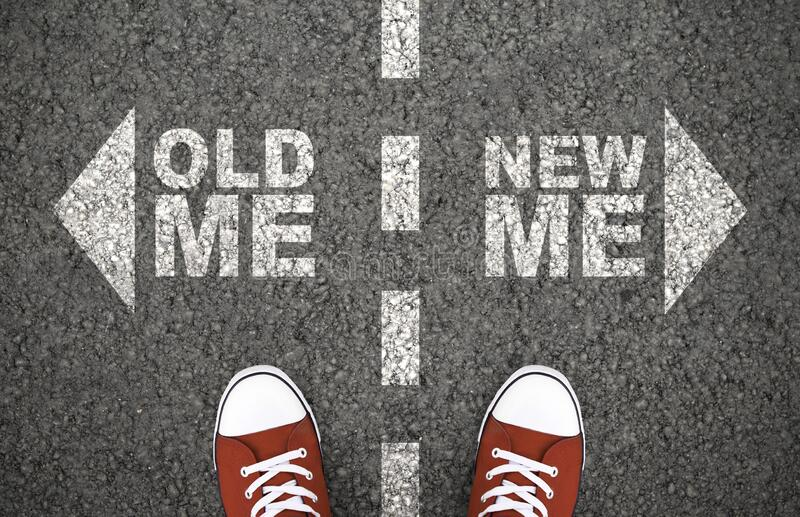 Decisão entre mim velho e novo, dilema fotografia de stock