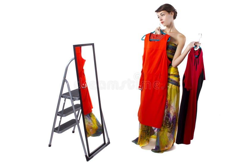 Decisão na roupa fotografia de stock