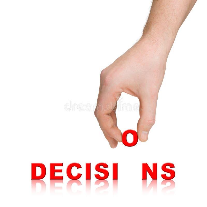 Decisões da mão e da palavra imagens de stock royalty free