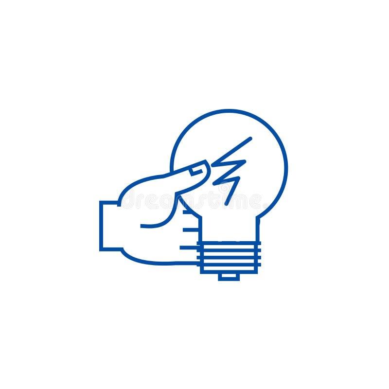 Decisión de la idea, mano con la línea concepto de la lámpara del icono Decisión de la idea, mano con el símbolo plano del vector libre illustration