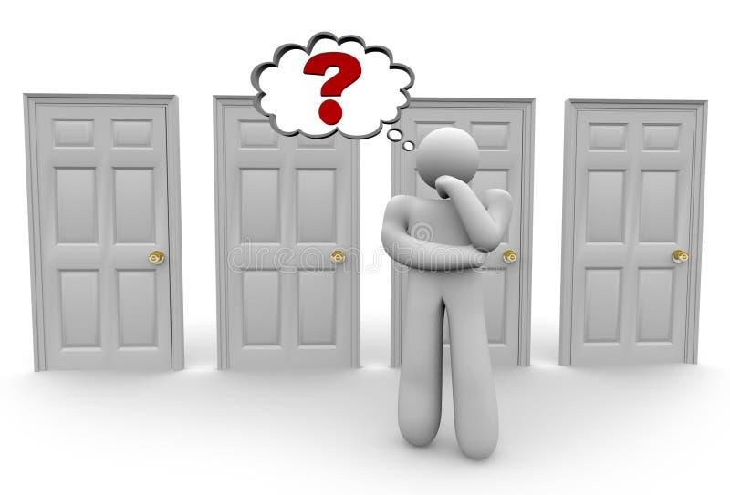 Decisión de qué puerta para elegir 2 stock de ilustración