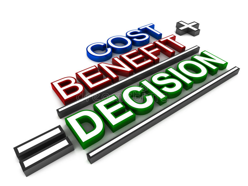 Decision. Cost plus benefit equals decision, text in color on white background vector illustration