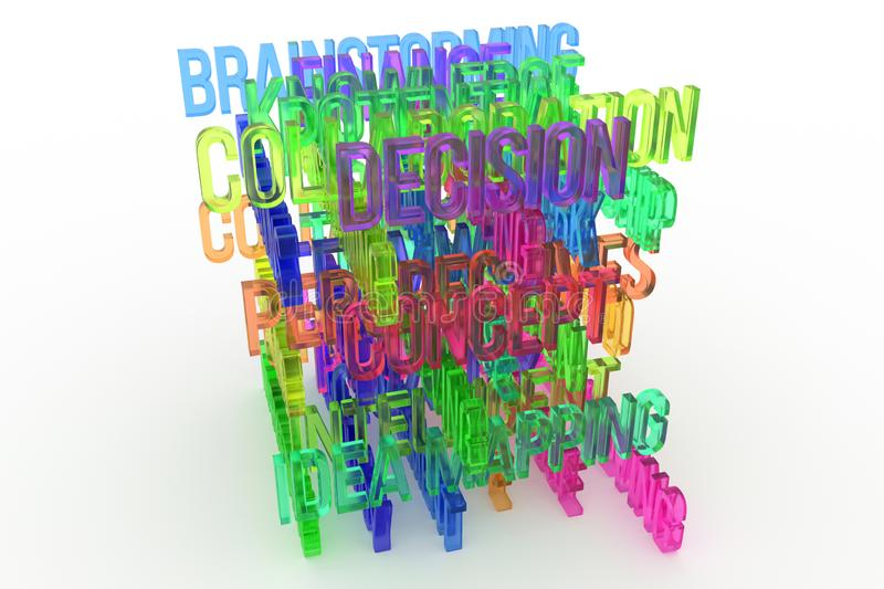 Decision, Concept, business conceptual colorful 3D rendered words. Style, web, text & communication. Decision, Concept, business conceptual colorful 3D rendered royalty free illustration
