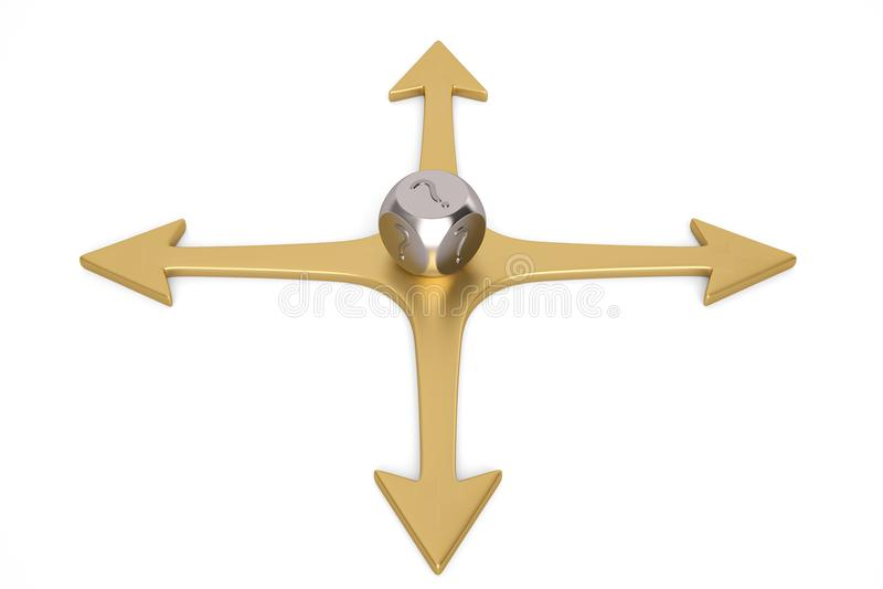 Decision concept dice on cross arrows.3D illustration. Decision concept dice on cross arrows. 3D illustration stock illustration