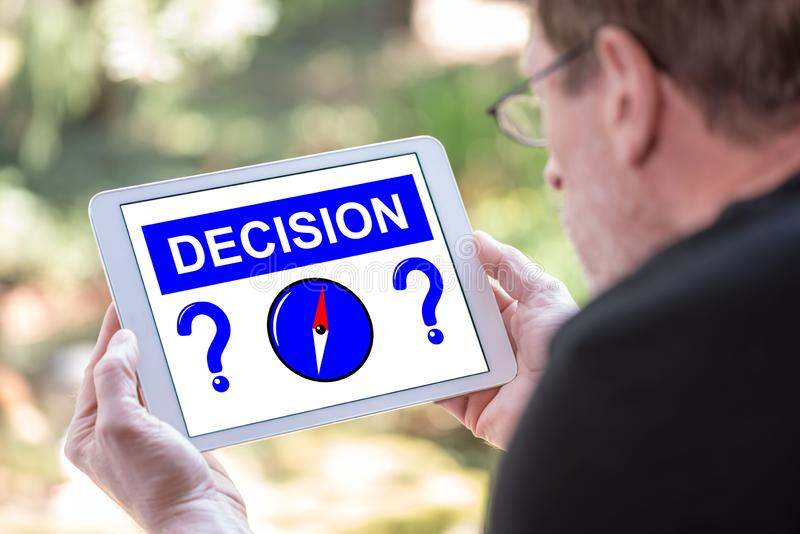 Decision concept on a tablet royalty free stock photo