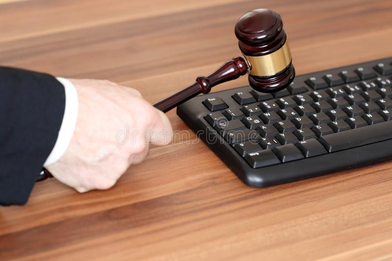 Decision on a desk. With computer keyboard royalty free stock photo