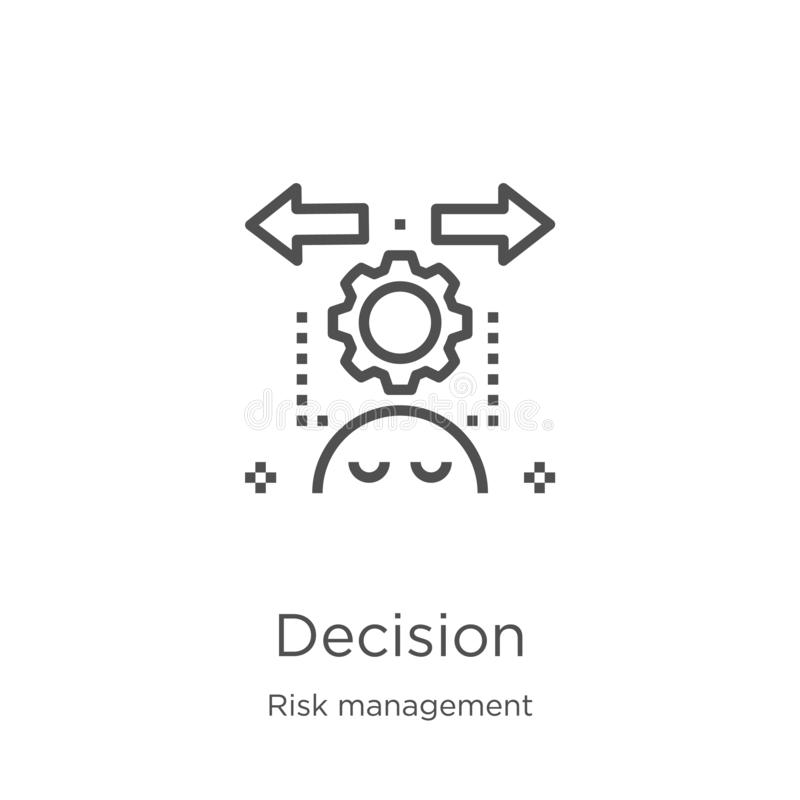 Decision icon vector from risk management collection. Thin line decision outline icon vector illustration. Outline, thin line. Decision icon. Element of risk vector illustration