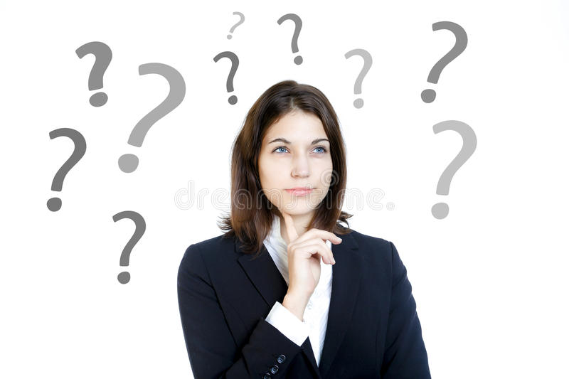 Decision. Info graphics and young business woman stock photos