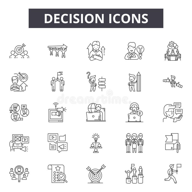 Decision line icons, signs, vector set, outline illustration concept. Decision line icons, signs, vector set, outline concept illustration vector illustration