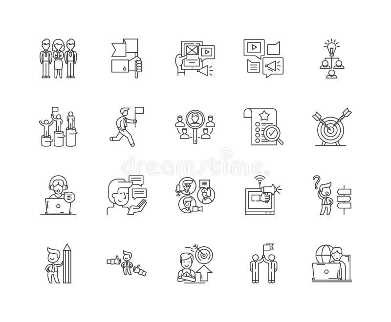 Decision line icons, signs, vector set, outline illustration concept stock illustration