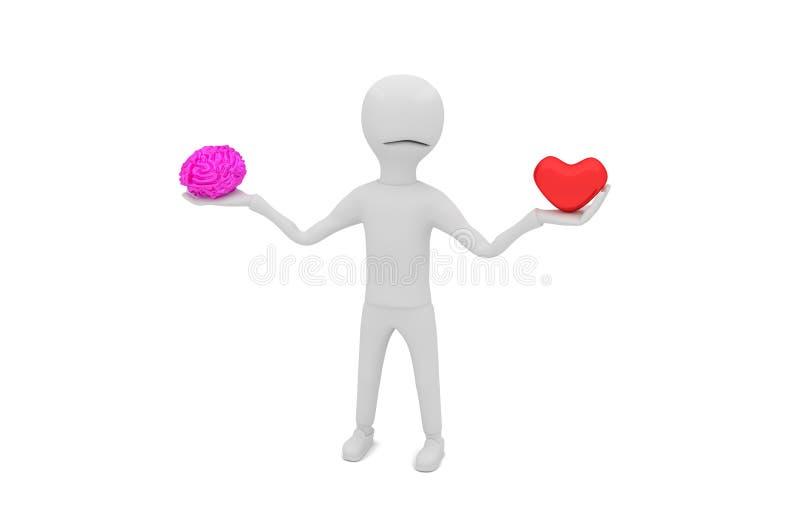 Decision - love or mind stock illustration