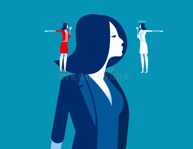 Decision making of business people. Concept business vector illustration, Devil and angle, Flat business cartoon, Confusion,. Uncertainty, Thinking stock illustration