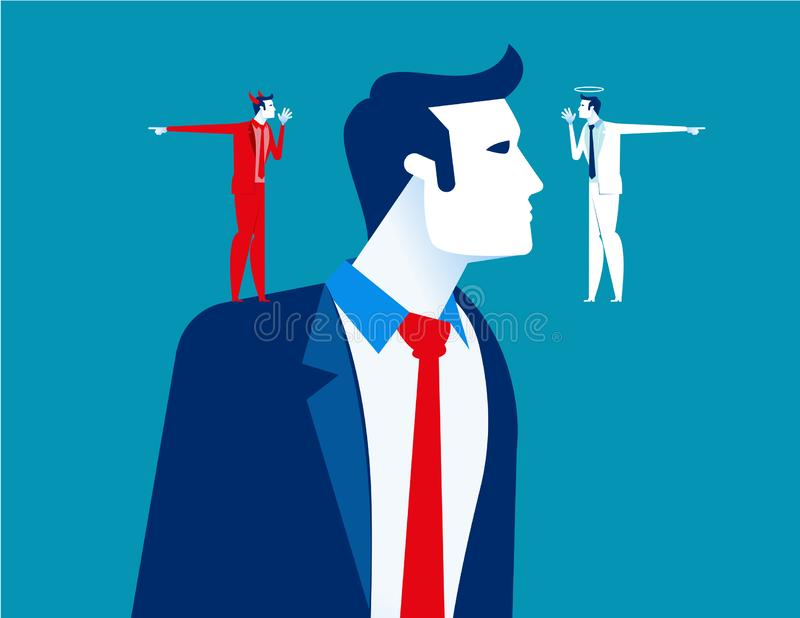 Decision making of business people. Concept business vector illustration, Devil and angle, Flat business cartoon, Confusion,. Uncertainty, Thinking royalty free illustration