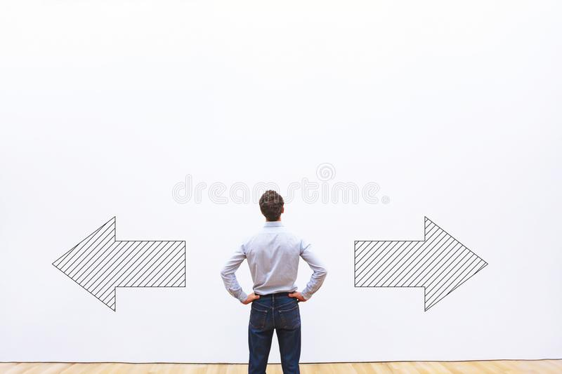 Decision making, choice or doubt concept stock image